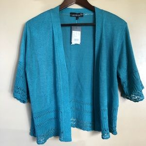 Laura + Teal Open Front Cropped Cardigan